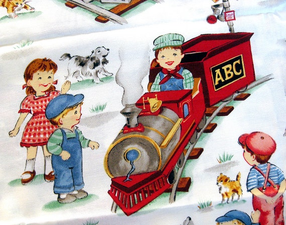 Retro inspired michael miller fabric children and trains i for Kids train fabric