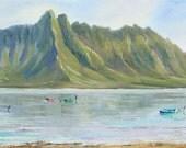 KANEOHE BAY HAWAII Original Oil Painting 10x30 Art Artwork Tropical Koolau Mountain Chinamans Hat Oahu Hawaiian Palm Tree Boat Calm Water