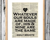 Emily Bronte - Wuthering Heights Quote- Art Print on Vintage Antique Dictionary Paper
