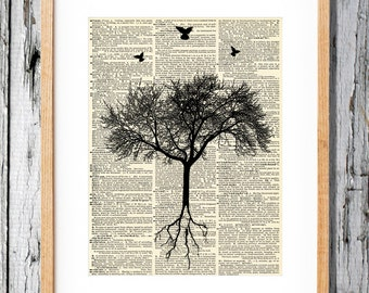 Bird Tree with roots - Art Print on Vintage Antique Dictionary Paper - unique Graphic design