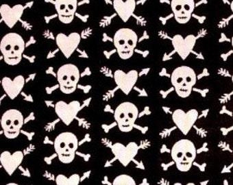 Hearts & Skulls Retro Cotton Fabric REMNANT