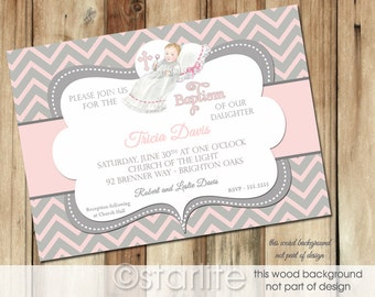 Baptism Invitation Girl, Vintage Baby Girl Baptism Invitation, Pink Gray Chevron Blessing Christening Dedication Invitation, Printable