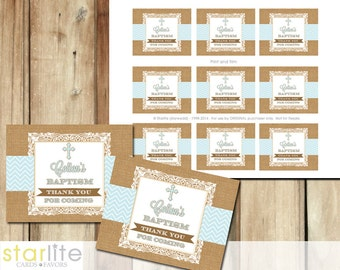 Baptism Favors Tags, cupcake toppers - burlap lace chevron blue, boy - blessing, christening, dedication - first communion, printable