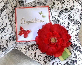 CONGRATULATIONS Card, Folded Pinwheel Style, in black, white, red and green