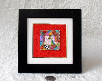 Original Mixed Media Collage,  square frame, wall or table art, sisters, girlfriends, women