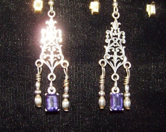 Iolite Gemstones in Sterlgin Silver Dangle Earrings