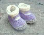 Knitting PATTERN BABY Booties - All in One Baby Mary Janes - Instant DOWNLOAD
