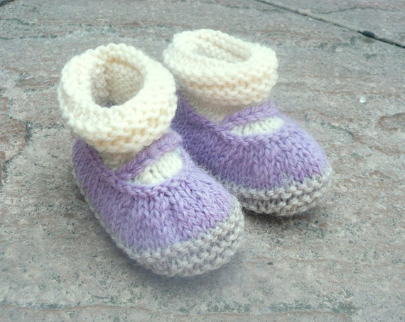 Knitting PATTERN BABY Booties All in One Baby Mary Janes