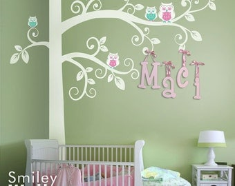 Huge Swirly Tree with Owls Wall Decal Corner Tree, Tree Wall Decal, Kids Wall Decals Wall Sticker Tree Wall Decal, Owls Wall Decal