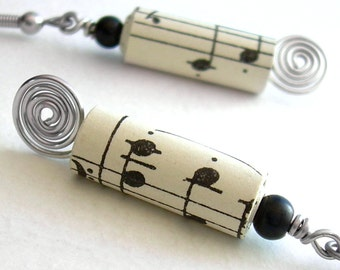 Silver Music Earrings, Recycled Paper Jewelry, Vintage Sheet Music, Musical Note Earrings
