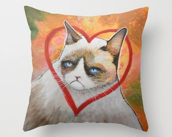 """Grumpy Cat throw pillow cover ... from my original kitty painting, """"Grumpy Cat...Heart Me"""" ... 16"""" x 16"""""""