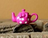Miniature Magenta Polka Dot Teapot Adjustable Ring - Tiny Tea Kettle