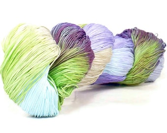 150 Yds Hand Dyed Cotton Crochet Thread Size 10 3 Ply Specialty Thread Purple Lavender Spring Green Sky Blue Hand Painted Fine Cotton Yarn