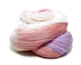 300 Yards Hand Dyed Cotton Crochet Thread Size 10 3 Ply Specialty Thread White Pale Pink Rose Lavender Christmas Thread Fine Cotton Yarn