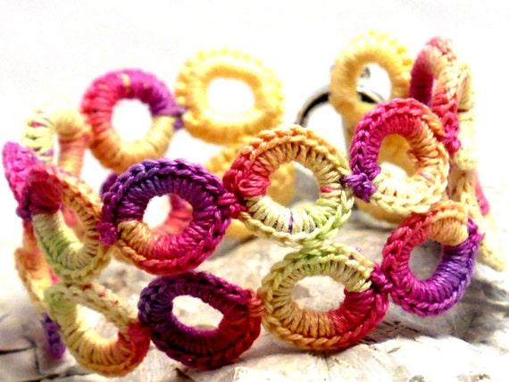 Crochet Bracelet Fiber Bracelet  Irish Lace Yellow Lime Pink Purple Rings