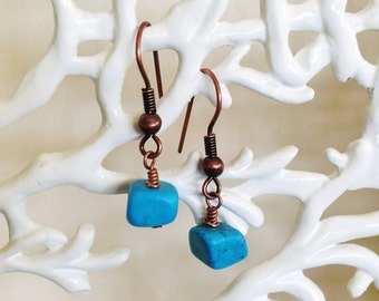 Turquoise Blue and Copper Earrings