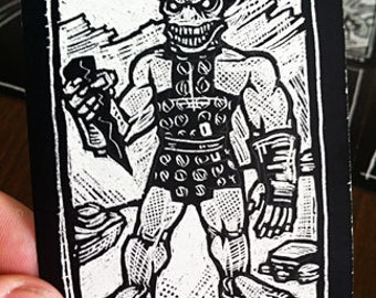 Gorn Scratchboard Art Card