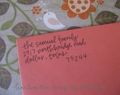Samuel Handwritten Address Stamp: your choice of self-inking or red rubber