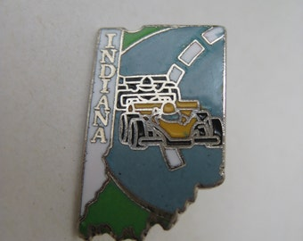 Indiana Tie Tack Pin Enamel Car Vintage Silver