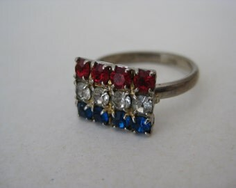 Red Clear Blue Rhinestone Ring Silver Vintage Adjustable