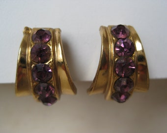 Modern Purple Earrings Screw Gold Rhinestone Violet