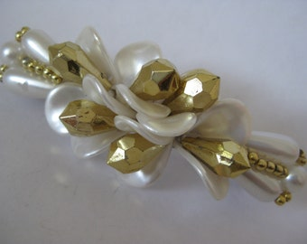 White Gold Barrette Vintage Pearl