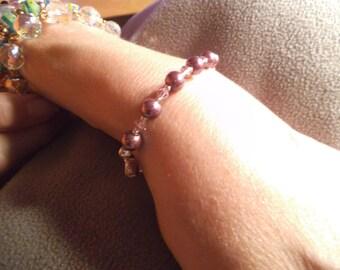 EGGPLANT Deep Purple Pearl  Bracelet