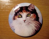 Pocket Handbag Mirror with image from art painting Cat 572 Calico by L.Dumas