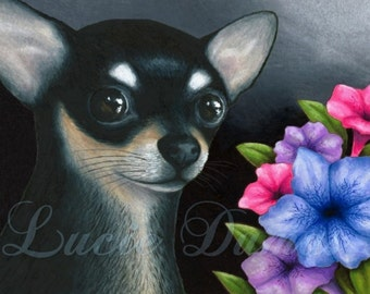 Art print 8x10 from painting Dog 80 black Chihuahua by Lucie Dumas