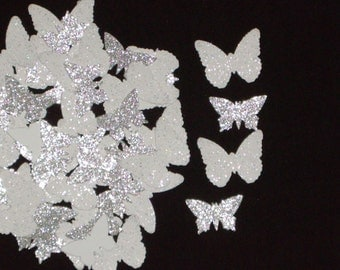 200 Glittered Wedding White Butterfly Confetti Scrapbooking Embellishments