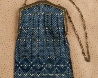 SALE WAS 225 Beautiful Blue Mesh Flapper Bag dur