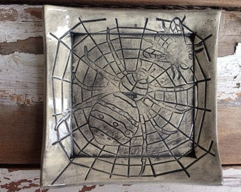 Square spider on web Halloween plate