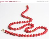 ON SALE Red Dolomite Necklace with Gold and Ruby Crystal Fireballs - Nine Streets
