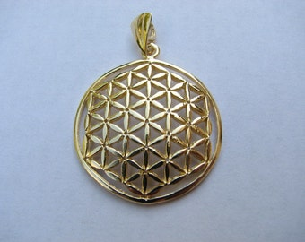 Original Flower of Life Pendant Gold filled, Large Charm, Sacred Geometry