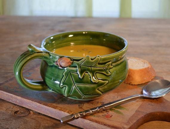 Soup mug ceramic, oak acorn, cappuccino chili bowl, glazed in green, handmade stoneware by hughes pottery