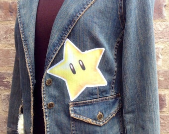Bombe Bomb Star Ladies Small Embellished Denim Jean Jacket - made with upcycled Mario fabric OOAK