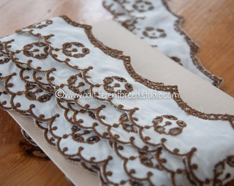 Scalloped Brown Eyelet  - 3 yards Vintage Fabric Embroidered Trim New Old Stcok
