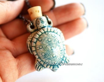 TURTLE Necklace - Raku Style Peruvian Ceramic Bottle - Free Domestic Shipping