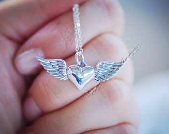 Heart with Wings Necklace - Sterling Silver Charm Pendant  - Insurance Included