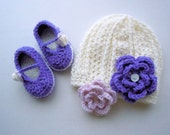Cutie Patootie!  White, Purple, and Lavender Hat and Bootie set with 2 interchangeable flowers