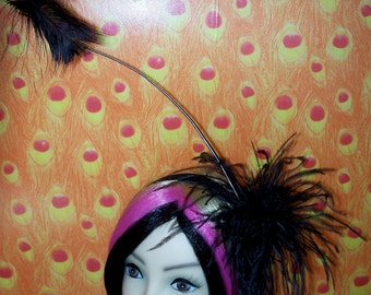 Custom Made Black Feather Fascinator Headband by Taissa Lada Designs,Black Ostrich Feathers, Gothic Inspired, Rockabilly,Retro,Gothic,Drag