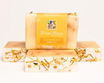 Calendula Soap Bar. Natural/ Handmade/ Artisan/Palm Free. Generous 4.5 oz Vegan Bar. Rainwater & Pure Essential Oils. Petal + Flower Soap.