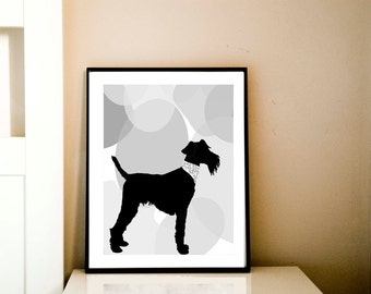 Welsh Terrier Art - Fine art print, welsh terrier dog , black silhouette