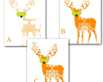 Orange Damask Reindeer-  Kids Art Prints, Nursery reindeer, nursery decorating ideas, reindeer art, nursery deer