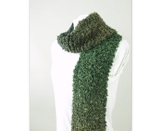 Unisex Hand Knit Olive Green and Black Ombre Scarf, Size Adult