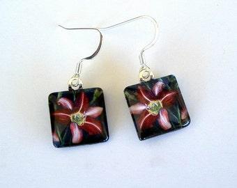 Flower Earrings Daylily Art Dark Purple Square Dangle Earrings Purple Pinwheel