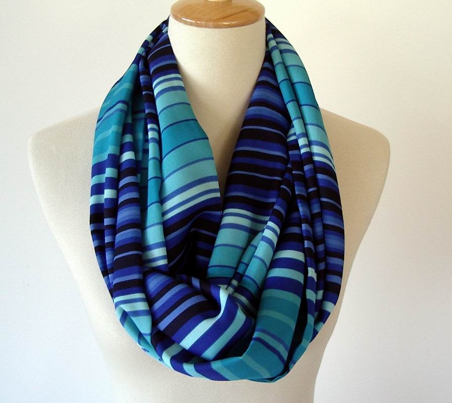 stripe fabric infinity scarf royal blue turquoise teal shades
