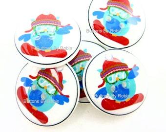 "6 Snowboarding Owl Buttons.  Handmade SewingButtons. Sew On.  6. 3/4"" or 20 mm."