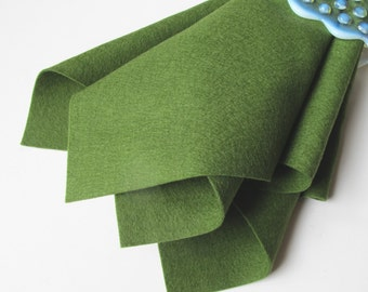 Fern Green, Pure Wool Felt, Choose Size, Felt Square, Wool Felt Sheet, 100% Merino, Washable Felt, Nonwoven Felt, Woodland, Wool Applique