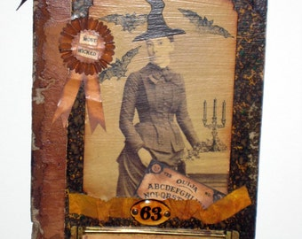 Halloween Collage on Antique Book Cover - Most Wicked Witch, Salem St. Seminary, Class of 63